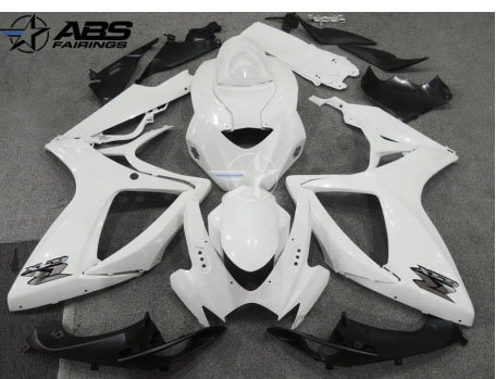 ABS Fairings Pearl White w/Silver Decals 24pc Fairing Set - Suzuki GSXR 600/750 2006-2007
