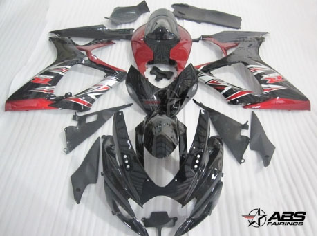 ABS Fairings Red & Black Tribal 24pc Fairing Set - Suzuki GSXR 600/750 2006-2007