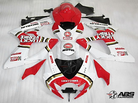 ABS Fairings Red Lucky Strike 24pc Fairing Set - Suzuki GSXR 600/750 2006-2007