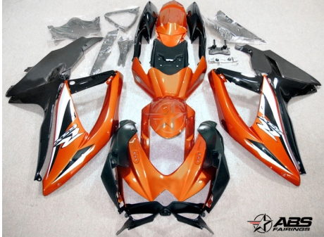 ABS Fairings Black & Burnt Orange 30pc Fairing Set - Suzuki GSXR 600/750 2008-2010