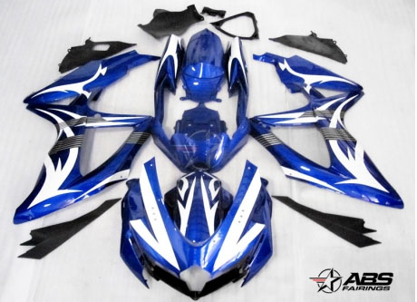 ABS Fairings Blue & White Tribal 30pc Fairing Set - Suzuki GSXR 600/750 2008-2010