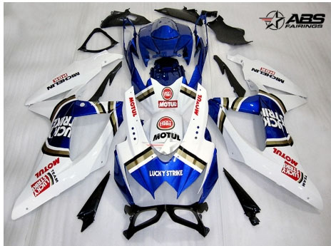 ABS Fairings Blue Lucky Strike 30pc Fairing Set - Suzuki GSXR 600/750 2008-2010