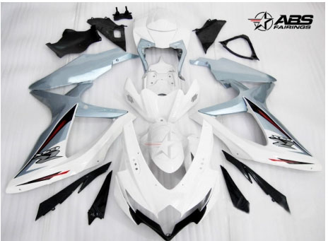 ABS Fairings Ice Blue & White 30pc Fairing Set - Suzuki GSXR 600/750 2008-2010