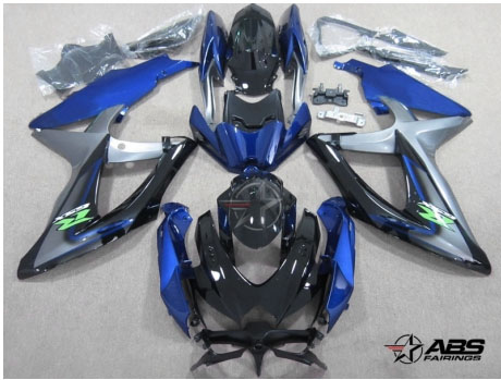 ABS Fairings Twisted Blue & Black 30pc Fairing Set - Suzuki GSXR 600/750 2008-2010