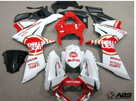 ABS Fairings Red Lucky Strike 26pc Fairing Set - Suzuki GSXR 600/750 2011-2012