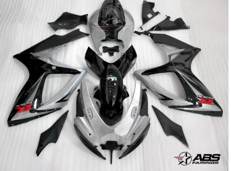 ABS Fairings Black & Silver 24pc Fairing Set - Suzuki GSXR 600/750 2006-2007
