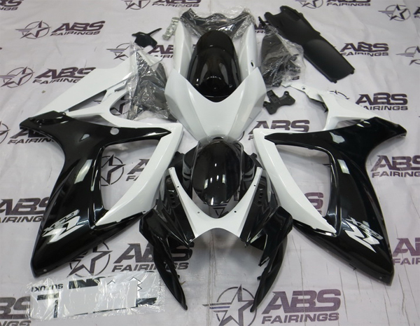 ABS Fairings Black & White 24pc Fairing Set - Suzuki GSXR 600/750 2006-2007