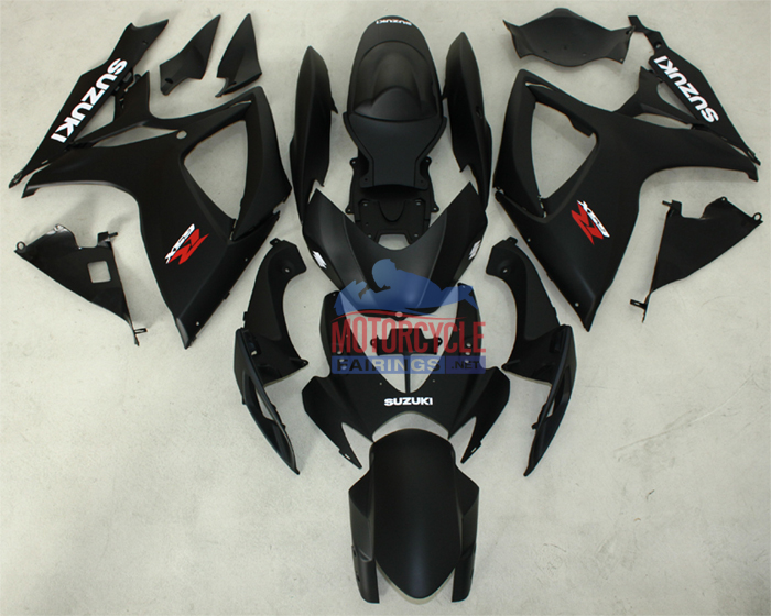 Flat Black ABS Fairing Set 23pc - Suzuki GSXR600/750 2006-2007