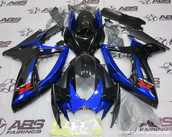 ABS Fairings Black & Blue 24pc Fairings Set - Suzuki GSXR 600/750 2006-2007