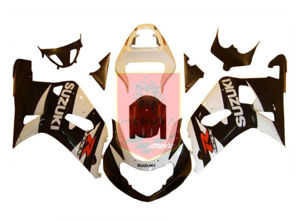 White/Black ABS Fairing Set 9pc - Suzuki GSXR600/750 2001-2003