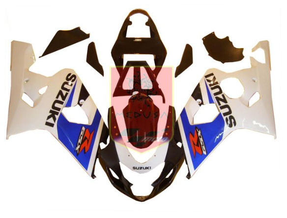White/Blue/Black ABS Fairing Set 10pc - Suzuki GSXR600/750 2004-2005