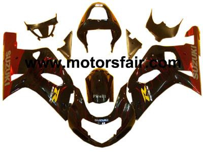 Suzuki GSXR 600/750 2001-2003 ABS Fairing - Black/Red Flames