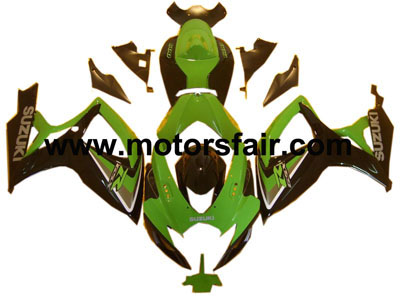 Suzuki GSXR 600/750 2006-2007 ABS Fairing - Black/Green