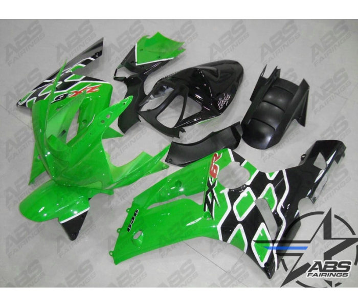 ABS Fairings Kawasaki ZX6R 2000-2002 ABS Fairing - Black/Red Flames