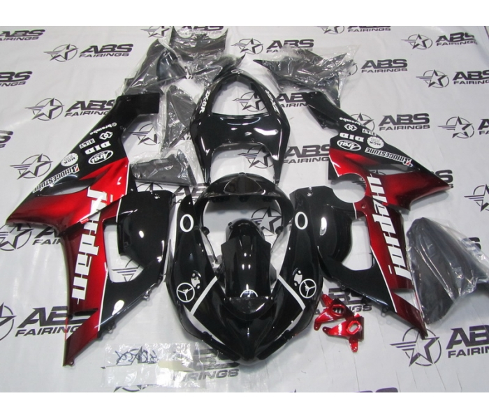 ABS Fairings Black & Red Jordan - 05-06' ZX6R