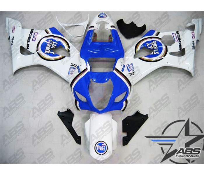 ABS Fairings Blue Lucky Strike Edition - 03-04' GSXR 1000