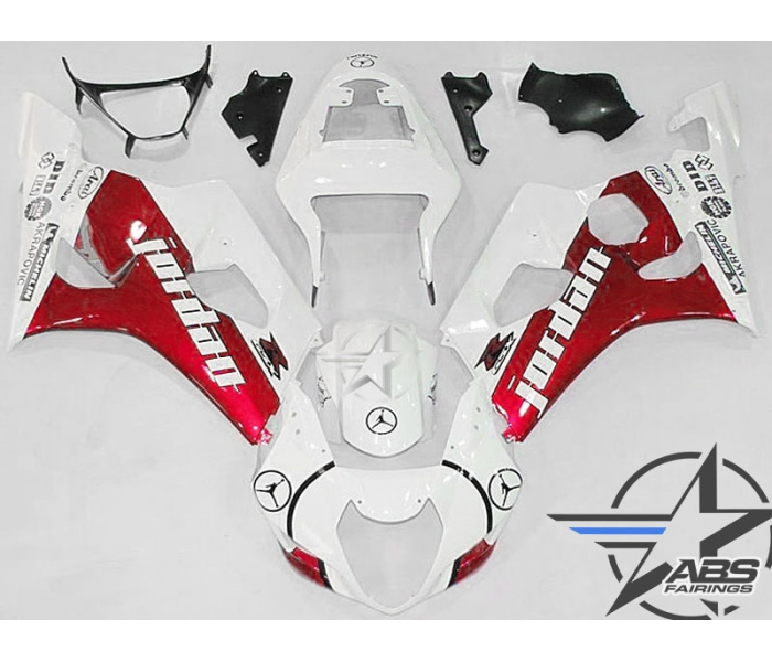 ABS Fairings Red Jordan Edition - 03-04' GSXR 1000