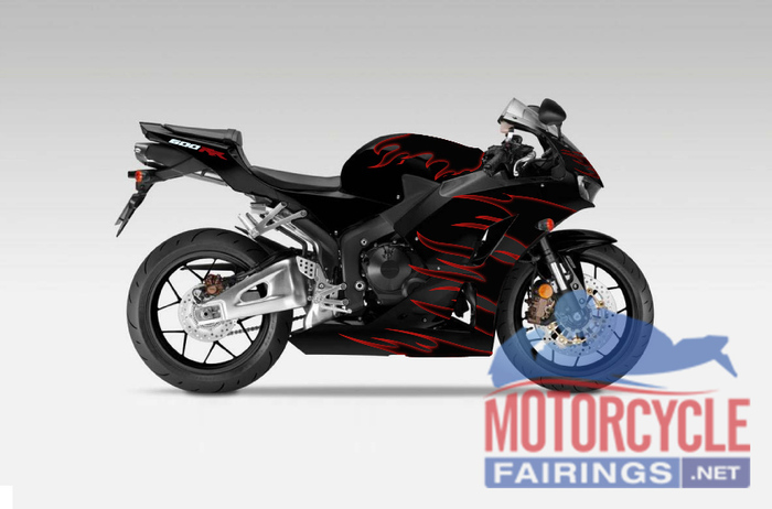 Aftermarket Black/Red Flames ABS Fairing Set 14pc - Honda CBR600RR 2003-2004