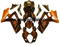 Suzuki GSXR 1000 2007-2008 ABS Fairing - Black/Red Flames