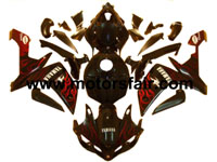 Yamaha R1 2007-2008 ABS Fairing - Black/Red Flames