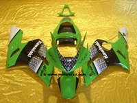 Kawasaki ZX6R 2003-2004 ABS Fairing - Green/Black