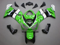 Kawasaki ZX6R 2005-2006 ABS Fairing - Green/White/Black
