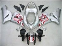 Kawasaki ZX6R 2005-2006 ABS Fairing - Silver/Red Flames