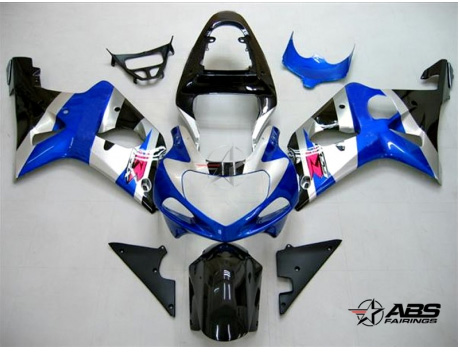 ABS Fairings Black & Blue 9pc Fairing Set - Suzuki GSXR 600/750 2000-2003