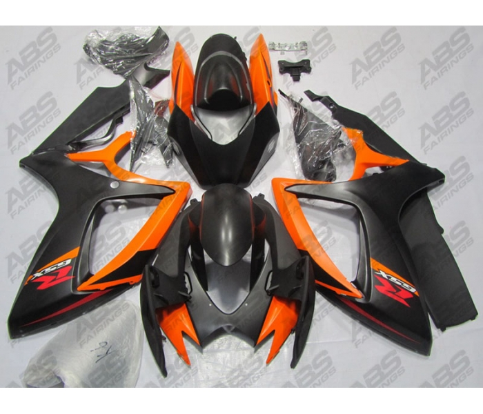 ABS Fairings Matte Black & Orange - 06-07' GSXR 600/750