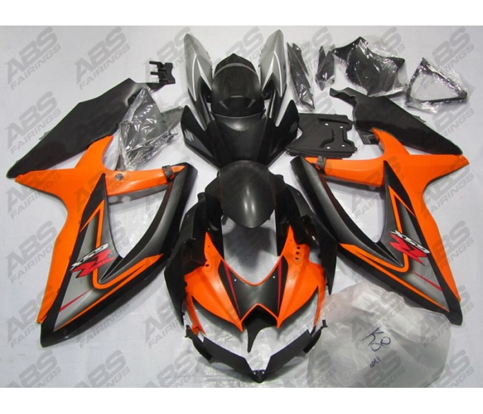 ABS Fairings Black & Orange - 08-10' GSXR 600/750
