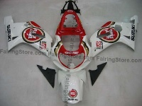 White/Red Lucky Strike ABS Fairing Set 9pc - Suzuki GSXR 600/750 2001-2003