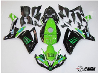 Black & Green Monster Energy ABS 26pc Fairing Set - Yamaha YZF-R1 2007-2008