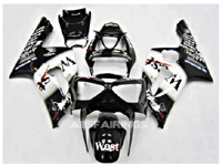 ABS Fairings Black & White West 16pc Fairing Set - Kawasaki ZX6R 2003-2004