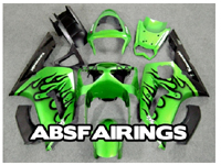 ABS Fairings Green Flames 16pc Fairing Set - Kawasaki ZX6R 2003-2004