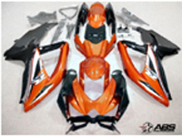 Black & Burnt Orange ABS 30pc Fairing Set - Suzuki GSXR 600/750 2008-2010