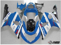 ABS Fairings Baby Blue & White 9pc Fairing Set - Suzuki GSXR1000 2000-2002