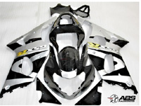 ABS Fairings Black & Silver 9pc Fairing Set - Suzuki GSXR1000 2000-2002