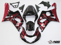 ABS Fairings Black w/Red Flames 9pc Fairing Set - Suzuki GSXR1000 2000-2002