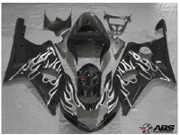 Black w/White Flames ABS 9pc Fairing Set - Suzuki GSXR1000 2000-2002