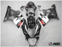 ABS Fairings Black & White 9pc Fairing Set - Suzuki GSXR1000 2003-2004