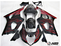 ABS Fairings Black w/Red Flames 9pc Fairing Set - Suzuki GSXR1000 2003-2004