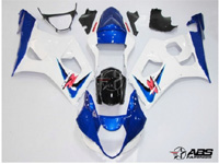 ABS Fairings Blue & White 9pc Fairing Set - Suzuki GSXR1000 2003-2004