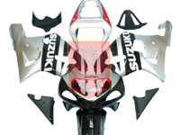 Black/Red/Silver ABS Fairing Set 9pc - Suzuki GSXR600/750 2001-2003