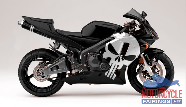 ABS Fairings Black & White Punisher Edition - 03-04' CBR600RR