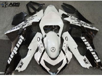 Black & Pearl White Jordan ABS 9pc Fairing Set - Suzuki GSXR 600/750 2004-2005