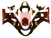 Black/Red Flame ABS Fairing Set 9pc - Suzuki GSXR600/750 2001-2003