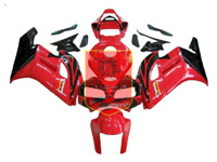 Aftermarket Red/Flat Black ABS Fairing Set 19pc - Honda CBR1000RR 2004-2005***No Honda Logos***