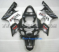 Black/White West ABS Fairing Set 13pc - Suzuki GSXR 600/750 2004-2005