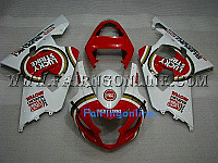 Red/White Lucky Strike ABS Fairing Set 13pc - Suzuki GSXR 600/750 2004-2005