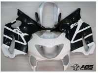 ABS Fairings Black & White 12pc Fairing Set - Honda CBR600 F4 1999-2000